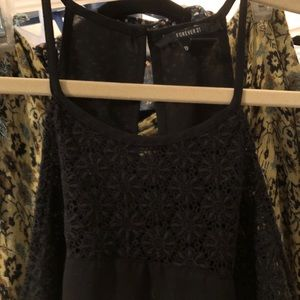 Forever 21 Black Tank with eyelet yoke